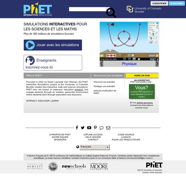 PhET: Des simulations gratuites en physique, chimie, biologie, sciences de la Terre et mathématiques