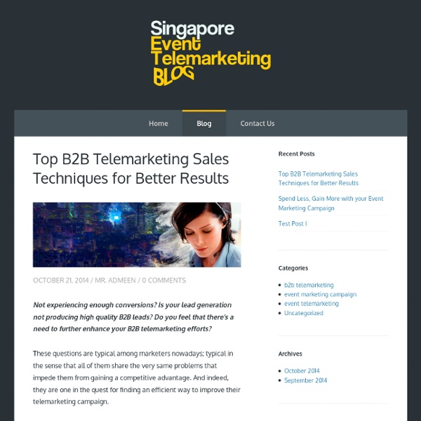 Singapore Event Telemarketing Blog