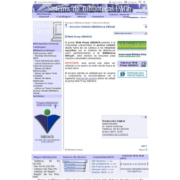 Sistema de Bibliotecas UACh - Acceso remoto Biblioteca Virtual por Web Proxy SiBUACh