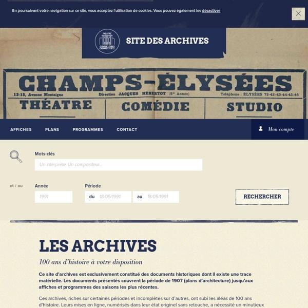 Théâtre des Champs-Élysées : Archives