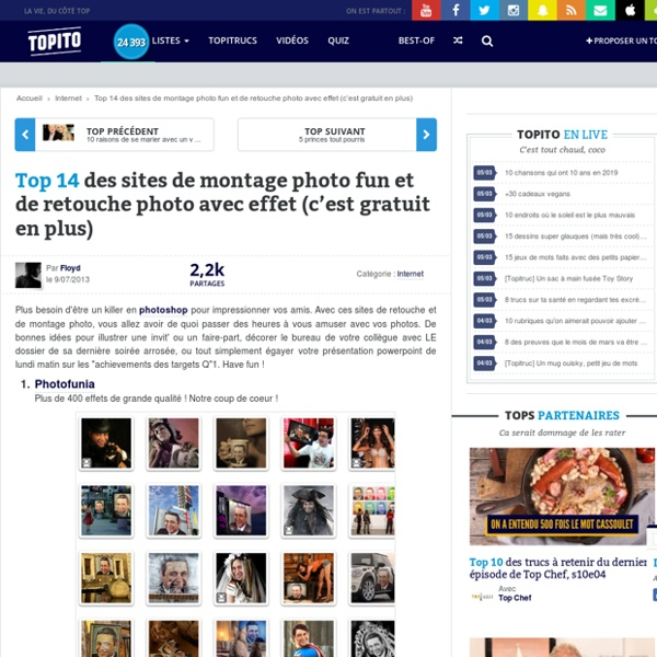 Top 13 des sites de montage photo fun et de retouche photo avec effet gratuit