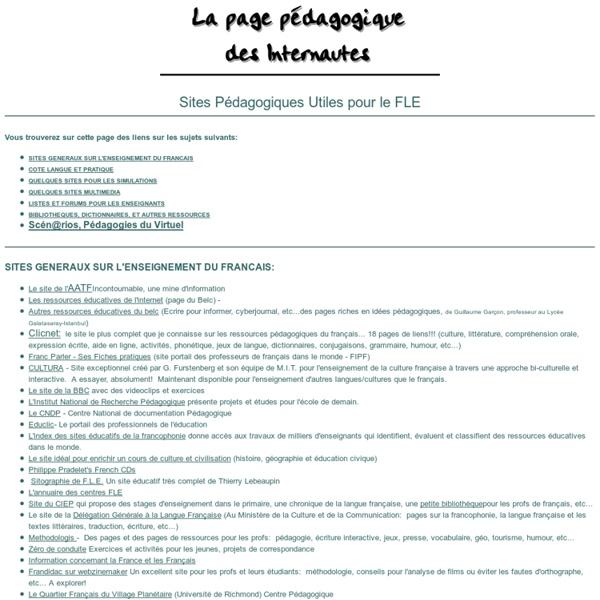 Sites Pédagogiques Utiles pour le FLE