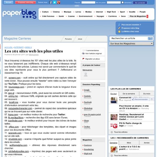 Les 101 sites web les plus utiles