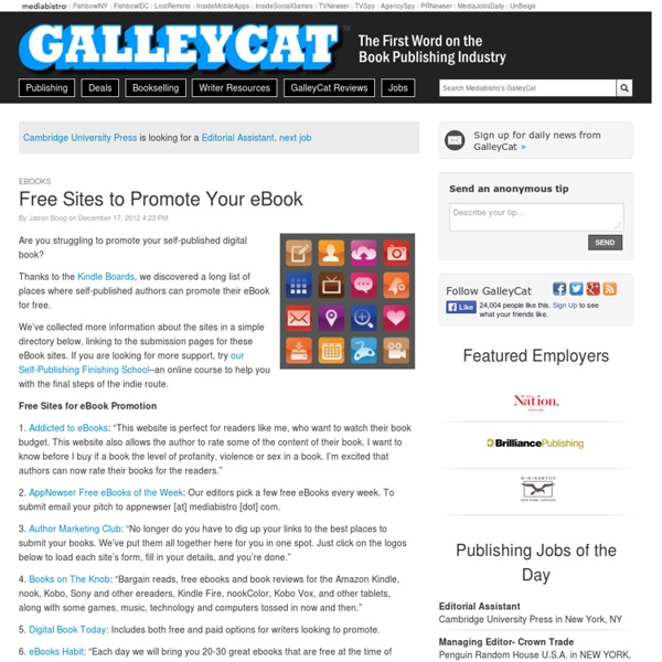 galleycat places promote your book free