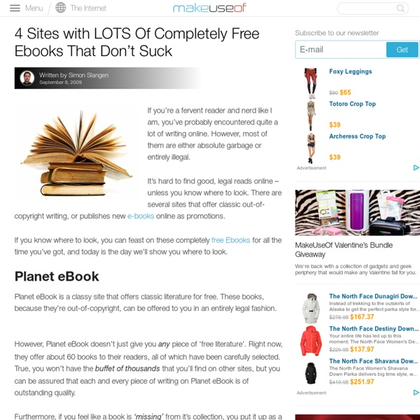 4 Sites with LOTS Of Completely Free Ebooks That Don't Suck