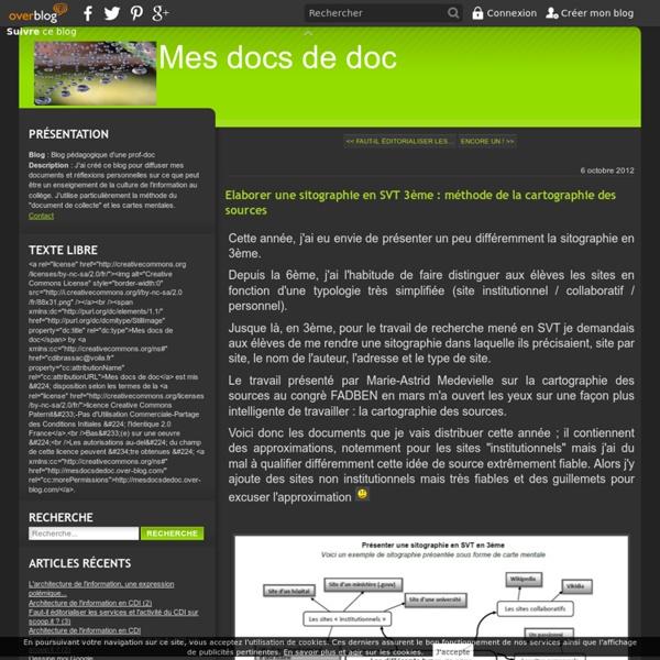 Elaborer une sitographie en SVT 3ème : méthode de la cartographie des sources