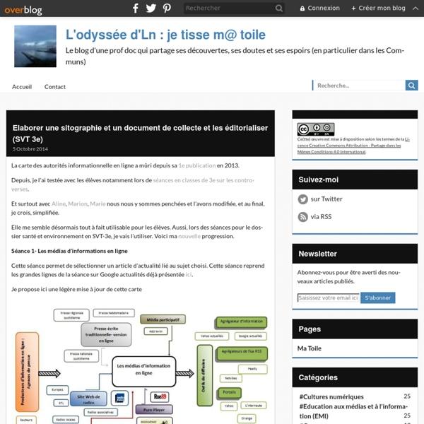 Elaborer une sitographie et un document de collecte et les éditorialiser (SVT 3e)