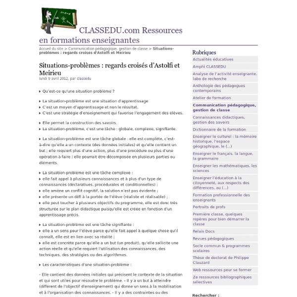 Situations-problèmes : regards croisés d'Astolfi et Meirieu