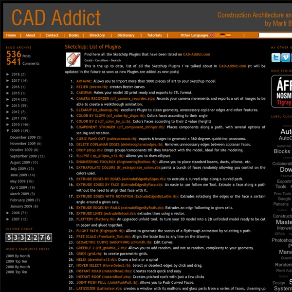 CAD addict: SketchUp: List of Plugins