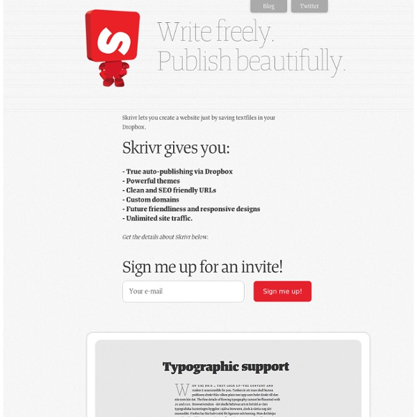 Skrivr - Write freely. Publish beautifully. The future of web typography today.