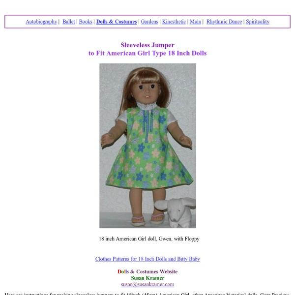 Sleeveless Jumper Pattern for American Girl, AG Type 18 Inch Dolls