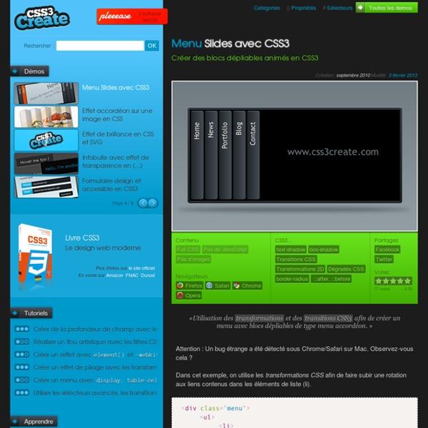 Menu Slides avec CSS3 - Créer des blocs dépliables animés en CSS3