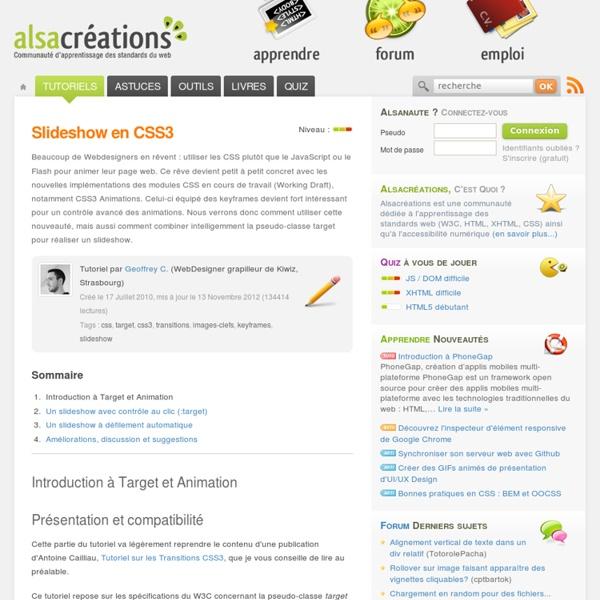 Slideshow en CSS3 - Alsacréations