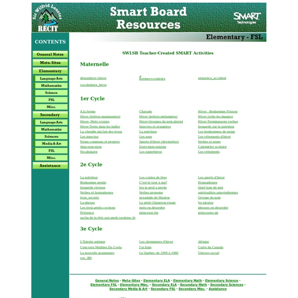Smart Board Resources - Elementary FSL - (Navigation privée)