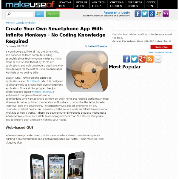 Create Your Own Smartphone App With Infinite Monkeys – No Coding Knowledge Required
