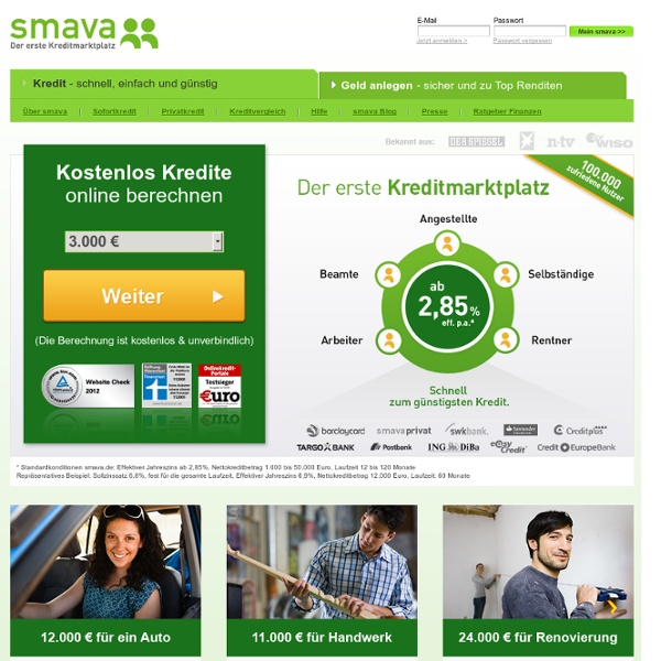 Kredit Privatkredit Sofortkredit Kredit von privat - smava.de