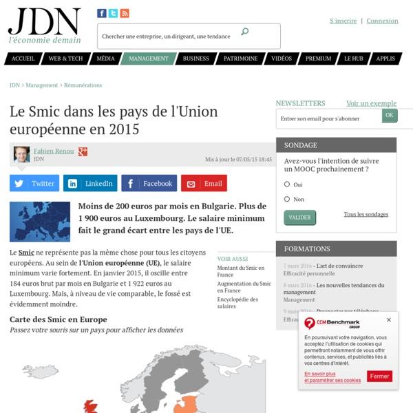 Le Smic dans les pays de l'Union européenne en 2014