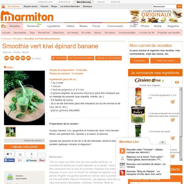 Smoothie vert kiwi épinard banane : Recette de Smoothie vert kiwi épinard banane