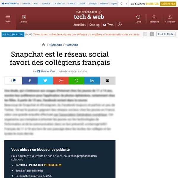 Le Figaro.fr : Snapchat est le réseau social favori des collégiens français