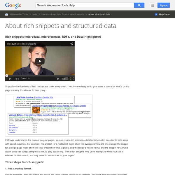 Rich snippets (microdata, microformats, and RDFa) - Webmaster Tools Help