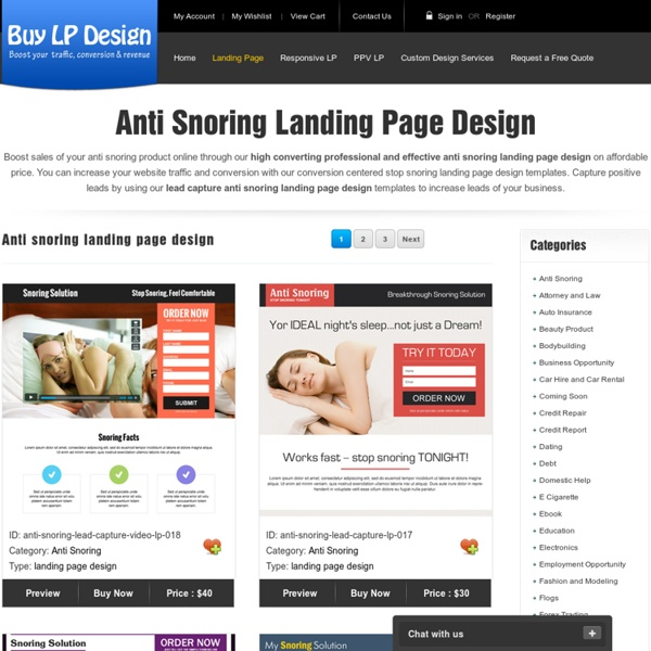 Anti snoring landing page design for stop snoring product and services