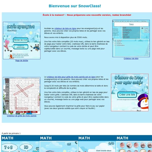 SNOWCLASS - Jeux éducatifs - école primaire
