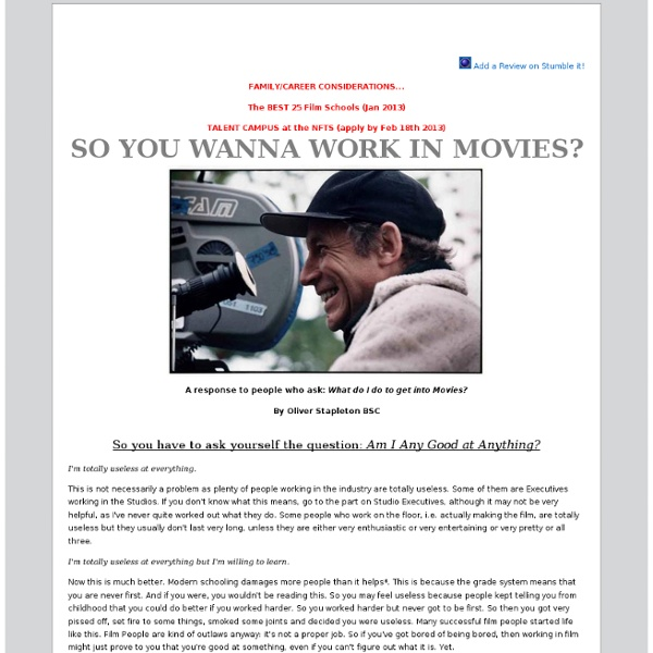 So You Wanna Work in Movies