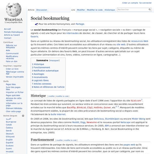 Partager ses FAVORIS - Social bookmarking