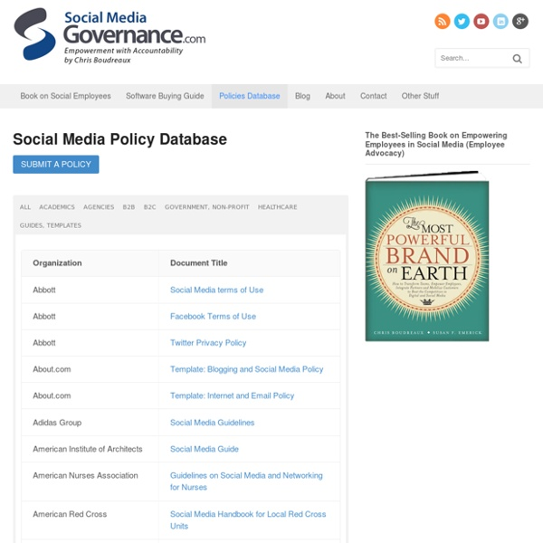 Online Database of Government and Non-Profit Social Media Policies