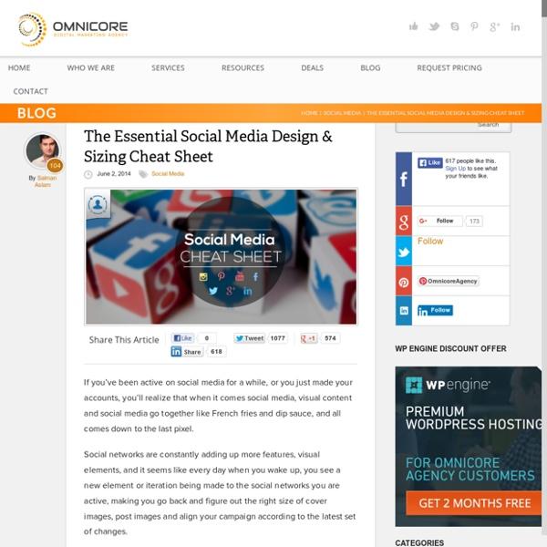Social Media Design Cheat Sheet 2014 (Infographic)