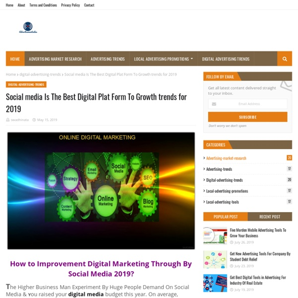 Social media Is The Best Digital Plat Form To Growth trends for 2019