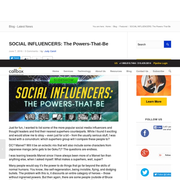 SOCIAL INFLUENCERS: The Powers-That-Be