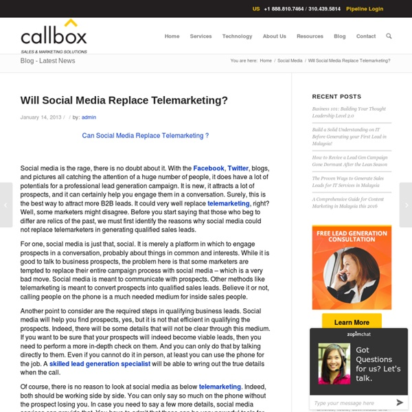 Will Social Media Replace Telemarketing?