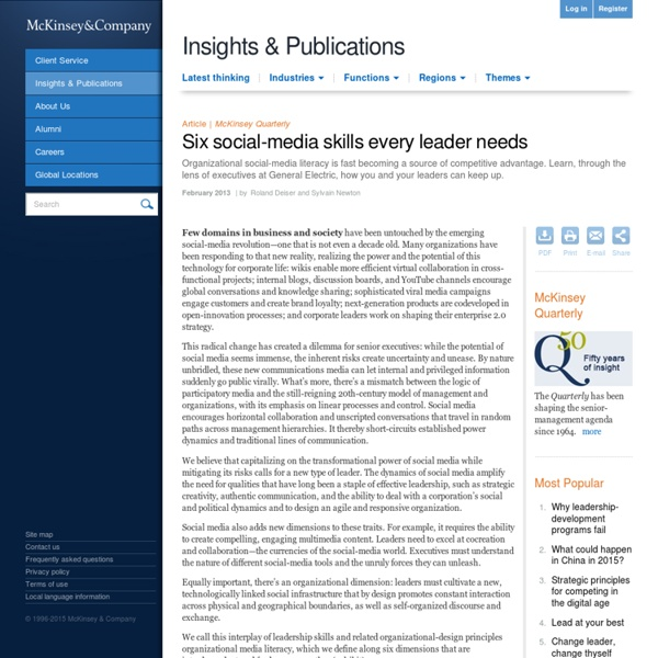 Six social-media skills every leader needs - McKinsey Quarterly - Strategy - Innovation