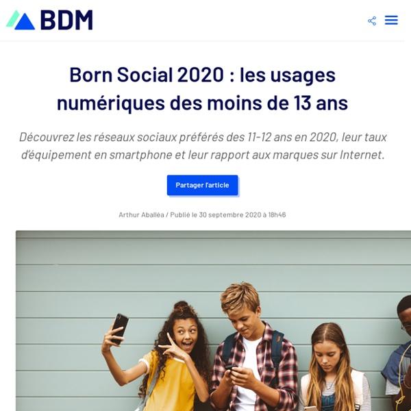 Born Social 2020 : les usages numériques des moins de 13 ans