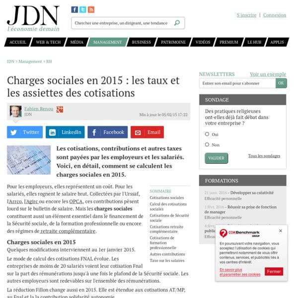 Charges sociales en 2015 : les taux et les assiettes des cotisations