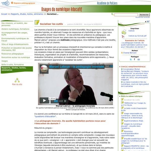 Socialiser les outils- Usages du numérique éducatif