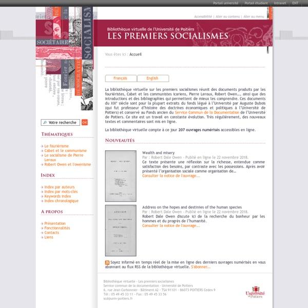 Les premiers socialismes - Bibliothèque virtuelle de l'Université de Poitiers