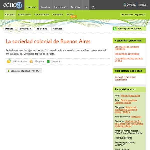 La sociedad colonial de Buenos Aires
