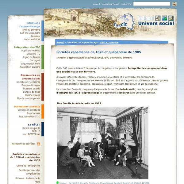 Sociétés canadienne de 1820 et québécoise de 1905