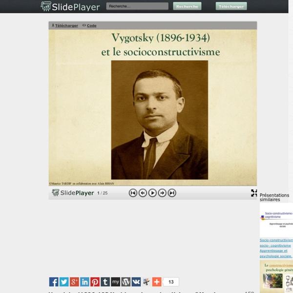 """Présentation """"Vygotsky (1896-1934) et le socioconstructivisme ©Maurice TARDIF en collaboration avec Alain BIHAN."""""""