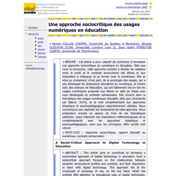 Une approche sociocritique des usages numériques en éducation