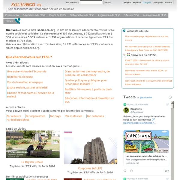 Socioeco.org - Site ressources de l'économie sociale et solidaire