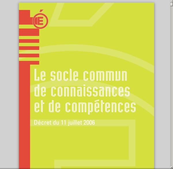 Le socle commun de connaissances et de compétences - décret du 11 juillet 2006