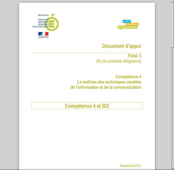 Document d'appui Palier3 Compétence4 : Compétence et B2i