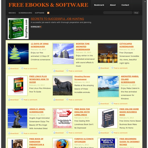 FREE EBOOKS & SOFTWARE DOWNLOADS SNIPFILES.COM