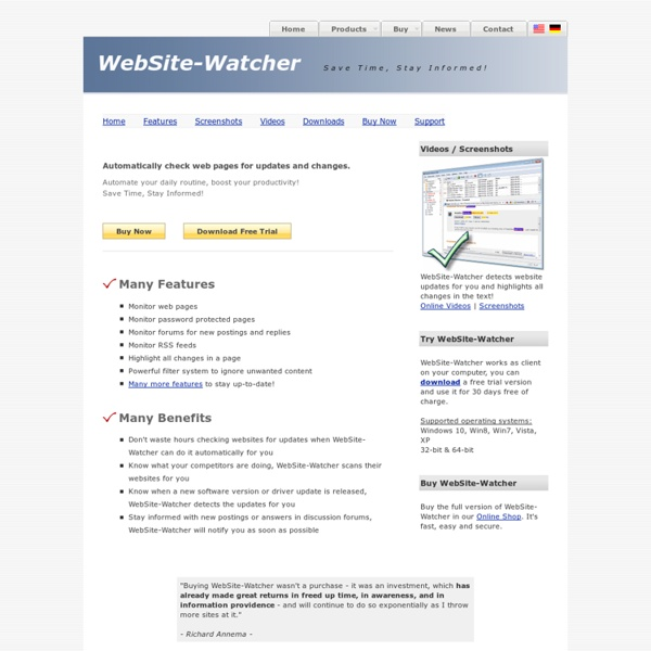 WebSite-Watcher - Software to check websites for updates and changes (web page monitoring)