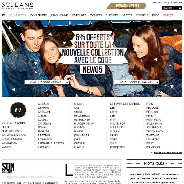 Jeans de grandes marques pour homme et femme : + de 100 marques et 1600 modèles en stock