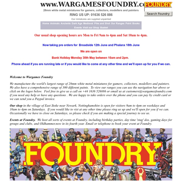 WELCOME TO WARGAMES FOUNDRY