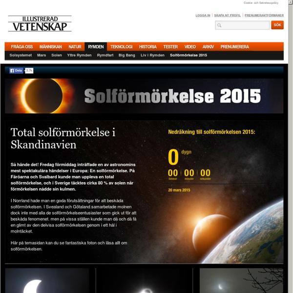 Solförmörkelse 2015 - Läs mer om solförmörkelsen i mars